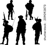 Silhouette Of Soldier With...