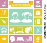 set of education icons in flat... | Shutterstock .eps vector #209116453