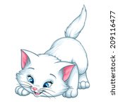 Vector Kitten Playing Cartoon...