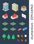 isometric city  vector elements | Shutterstock .eps vector #209116963
