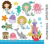 cartoon,castle,chest,crab,cute,dolphin,girl,illustration,life,mermaid,mermaids,octopus,treasure,underwater,vector