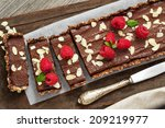 vegan chocolate tart with... | Shutterstock . vector #209219977