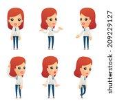set of reception character in...   Shutterstock .eps vector #209229127