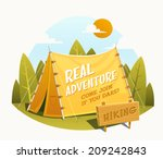 Camping Tent. Vector illustration.