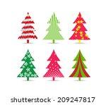set of christmas trees for... | Shutterstock .eps vector #209247817