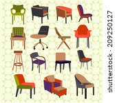 set icons of chairs interior... | Shutterstock .eps vector #209250127