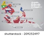 AEC Map - stock vector