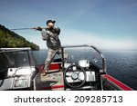 men is fishing at the boat | Shutterstock . vector #209285713