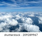 an aerial view above the clouds.