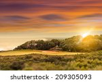 coastal golf course at sunset | Shutterstock . vector #209305093