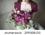 bridal bouquet with red and... | Shutterstock . vector #209308153