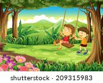illustration of a girl and a... | Shutterstock . vector #209315983