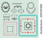 set of vintage floral frame and ...   Shutterstock .eps vector #209339383