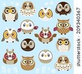 a lot of cute owls | Shutterstock .eps vector #209340367