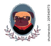 fashionable pug hipster | Shutterstock .eps vector #209340973