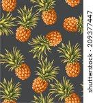 seamless pineapples vector... | Shutterstock .eps vector #209377447