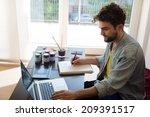 handsome hipster modern man... | Shutterstock . vector #209391517