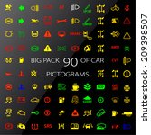 colour icon pack car information pictograms - stock vector