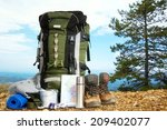 camping elements  equipment on... | Shutterstock . vector #209402077