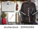 several hiking items  on top of ... | Shutterstock . vector #209402083