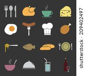 food icons set | Shutterstock .eps vector #209402497