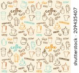 coffee icons seamless pattern | Shutterstock .eps vector #209435407