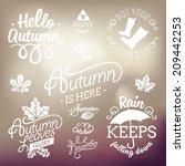 vector set of autumn themed... | Shutterstock .eps vector #209442253