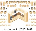 wooden kitchen design elements. ... | Shutterstock .eps vector #209519647