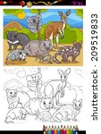Coloring Book or Page Cartoon Vector Illustration of Black and White Funny Marsupials Mammals Animals Characters Group for Children