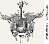 guitar emblem   Shutterstock .eps vector #209522683
