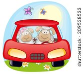 Two Sheep Is Sitting In A Car