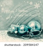 golden christmas decorations on ... | Shutterstock . vector #209584147