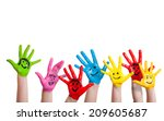 painted hands of children with... | Shutterstock . vector #209605687