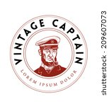 Постер, плакат: Vintage Captain Emblem Bearded