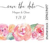 watercolor roses vector.... | Shutterstock .eps vector #209619697
