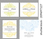 wedding invitation cards with... | Shutterstock . vector #209697127