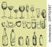 set of ink drawing wineglass ... | Shutterstock . vector #209702587