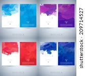 Set of bright colorful vector watercolor background