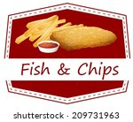 illustration of fish and chips | Shutterstock .eps vector #209731963