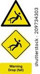 warning drop  fall   | Shutterstock .eps vector #209734303