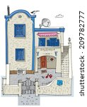 hotel on santorini island ... | Shutterstock .eps vector #209782777