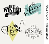 Vector Set Of Winter Themed...