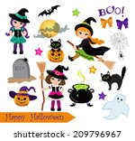 halloween cute witches  set  | Shutterstock .eps vector #209796967