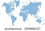 blue dots world map on white... | Shutterstock .eps vector #209808127