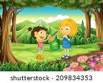illustration of the kids eating ... | Shutterstock . vector #209834353