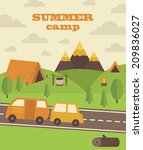summer camp card design. vector ... | Shutterstock .eps vector #209836027