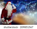 santa claus enjoying sound of... | Shutterstock . vector #209851567