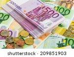 Many Different Euro Bills....