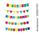 colorful bunting and garland... | Shutterstock .eps vector #209857597