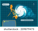 philippines map with eye of... | Shutterstock .eps vector #209879473